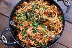 Latin style tallarines con mariscos or seafood spaghetti