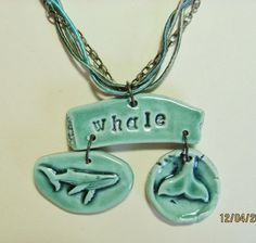 Whale of a Tale Ceramic Necklace by SlinginMud on Etsy, $34.00