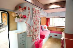 interior of a caravan in blue!