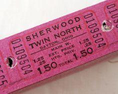 13 Dark Magenta Vintage Theatre Tickets   by LisasCraftShoppe, $3.50