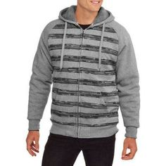 Climate Concepts Big Men's Stripe Fleece Sherpa Hoodie, Size: 3XL, Black