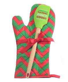 Take a look at this 'Christmas Calories Don't Count' Oven Mitt & Spatula Set by Slant on #zulily today!