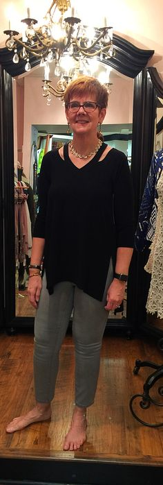 The New Sympli Verve Top Paired With Grey Jeans! - I love how Amanda Dillard pairs her Sympli top with a casual pair of grey Tribal jeans!