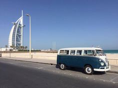 Blue BUs in Dubai ☮ #VWBus ☮ pinned by www.wfpcc.com