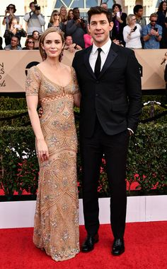 Emily Blunt & John Krasinski from 2017 SAG Awards: Red Carpet Couples  It's just impossible not to love these cuties. #RelationshipGoals