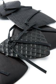 Monies Dramatic Ebony & Leather Necklace