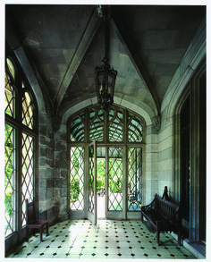 """Lyndhurst - The vestibule was originally the carriage porch for """"Knoll"""".  The furniture, designed by A.J. Davis, has been in place since at least 1870"""