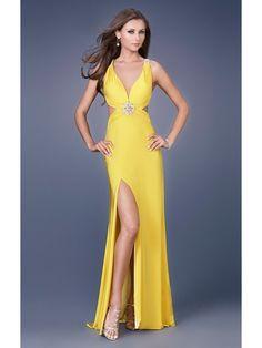 V-Ausschnitt Gelb Abendkleid lang hinten offen