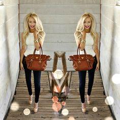 Chic : white peplum top, skinny jeans, nude heels