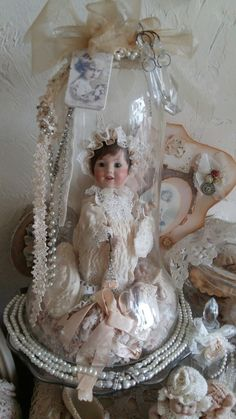 So Beautiful   Perfect Display for my 8 inch MA Dolls & Vintage cloth bodied Babies      Stolp met popje en zijden jurkje...Nelleke Verkouter