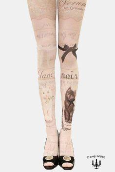 Gothic Lolita Tattoo Strumpfhose tights vintage style cats