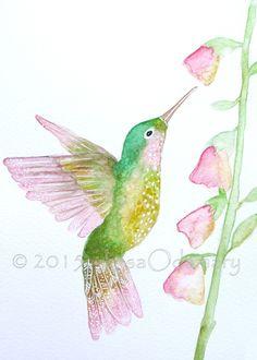 """Aquarelle d'un oiseau colibri """" Douceur de colibri """" 15 x 21 cm. Un joli cadeau pour la fête des mères !"""