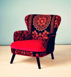 Patchwork armchair with Suzani and crimson by namedesignstudio, $1500.00