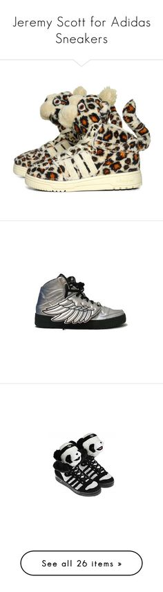 """Jeremy Scott for Adidas Sneakers"" by kier-kier ❤ liked on Polyvore featuring men's fashion, men's shoes, men's sneakers, shoes, sneakers, adidas mens sneakers, mens woven shoes, adidas mens shoes, mens leopard print shoes and adidas shoes"