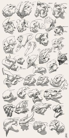 Heads recherche by DavidSequeira on DeviantArt Monster Art, Monster Concept Art, Monster Drawing, Monster Design, Mythical Creatures Art, Alien Creatures, Fantasy Creatures, Creature Concept Art, Creature Design