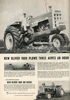 Who's ready for #VintageAdWednesday? From Farm Quarterly, Winter 1960-61, is the Oliver 1800 and 1900. #Oliver #HeritageIron #MuscleTractor