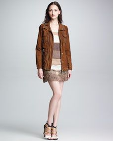 Suede Cargo Jacket, Striped Pullover Sweater & Ombre Beaded Fringe Skirt