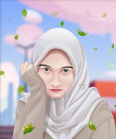 Caricature, Adobe Illustrator, Human Icon, Anime Muslim, Islamic Girl, Vector Portrait, Girl Humor, Designs To Draw, Vector Art