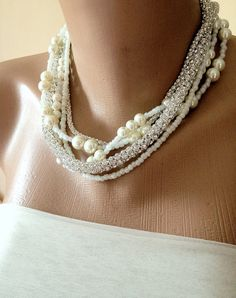My Bride  Summer   Weddings  Pearl Necklace Bridsmaids by kirevi8, $64.00