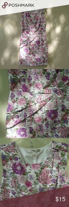 Purple flower dress!!! NEW WITH TAGS. Very cute fit. Purple flower dress. Dress is short, with nice detailing on the right hip and left shoulder. Forever 21 Dresses