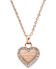 Michael Kors Crystal Heart Pendant Necklace - Fashion Necklaces - Jewelry & Watches - Macy's