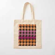 Cotton Tote Bags, Reusable Tote Bags, Hounds Tooth, Purple, Pink, Lesbian, Art Prints, Orange, Printed