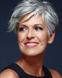 20 Great Short Hairstyles for Older Women: Pixie Haircut with Long Bangs