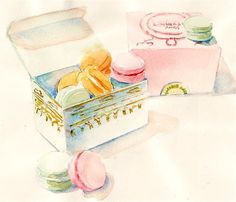 Macaron Boxes Original watercolor by ParisBreakfast on Etsy