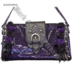 Dark Star Black and Purple Gothic Cobweb and Roses PVC Purse Gothic Accessories, Fall Accessories, Plus Size Gothic Dresses, Studded Purse, Dark Star, Backpack Straps, Gothic Outfits, Shoulder Purse, Purses And Handbags