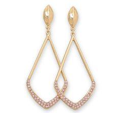 Pink crystal dangle post gold tone fashion earrings 24.00 USD