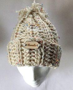 Crochet Olympics Handmade Beanie Rib Chunky Pom Pom Snowboard Hat Winter  Tweed White Wood Button Crochet 19a6dc6b16d0