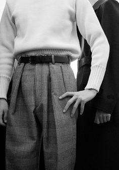 Jil Sander AW15 Menswear Milan Dazed trousers b&w