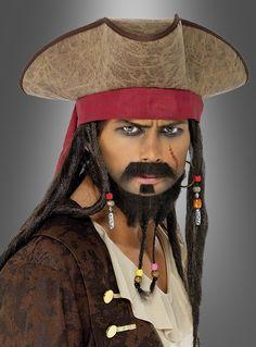 Piraten Dreispitzhut mit Haaren und Perlen