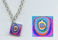 I have a whole bunck of shrinky dink and wondered what to do with it -- love this!  Shrinky Dink Jewelry, Kandinsky Style