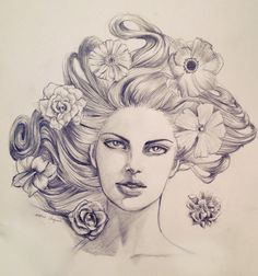 woman, beauty, face, hair, flowers, pencil drawing, illustration