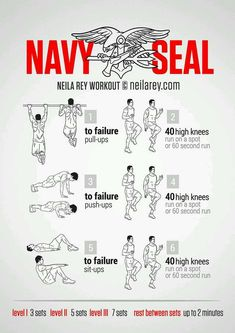 Navy Seal Training - Military Fitness Exercises - Train Like a Seal Fitness Workouts, Gym Workout Tips, Ab Workout At Home, Yoga Fitness, At Home Workouts, Health Fitness, Workout Plans, Bikini Fitness, Exercise Plans