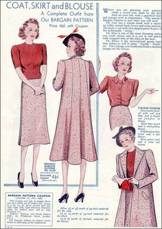 "Fashions from ""Woman & Home"" September 1938. #vintage #1930s #fashion #patterns"