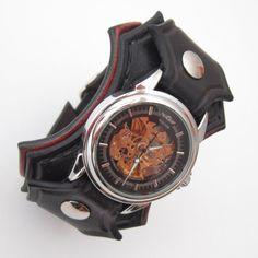 Steampunk Wrist Watch, Man Wrist Watch, Steampunk Leather Watch, Man's Steampunk Watch