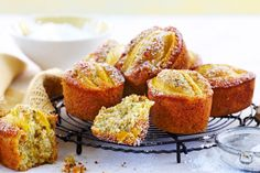 Relax with a cup of tea and these yummy mango and pistachio friands. Cupcake Recipes, Baking Recipes, Dessert Recipes, Scone Recipes, Pastry Recipes, Dessert Ideas, Drink Recipes, Desserts, Tea Cakes