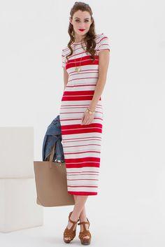 Tee length striped dress