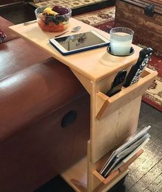This adjustable height, handmade wooden couch tray table is a highly functional piece of furniture for the person for whom convenience is very importa. Woodworking Organization, Woodworking Projects, Woodworking Workbench, Workbench Plans, Youtube Woodworking, Woodworking Furniture, Garage Workbench, Woodworking Store, Woodworking Patterns