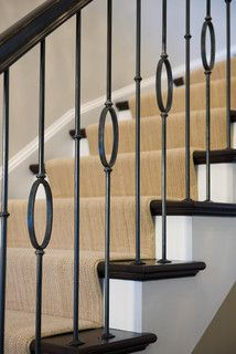 Fresh Modern Colonial - Modern - Staircase - Dc Metro - Barnes Vanze Architects, Inc Wrought Iron Stair Railing, Iron Balusters, Metal Railings, Staircase Railings, Modern Staircase, Banisters, Staircase Design, Staircases, Iron Spindle Staircase