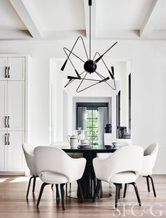 Black and White Dining Room Decor Inspirations Dining Table Chairs, Dining Room Furniture, Desk Chairs, Lounge Chairs, Office Furniture, Dining Area, Black And White Dining Room, Black White, Black Round Dining Table