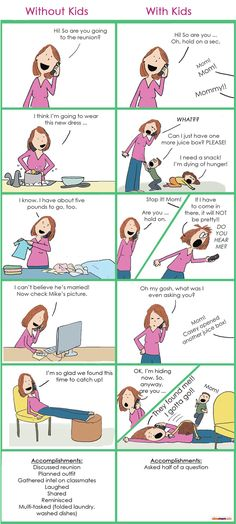 A hilarious cartoon about talking on the phone - with and without kids :)