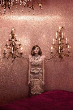 These pink glitter walls are amazing!