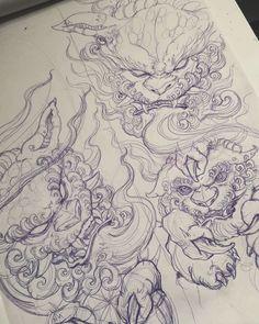 🦁🦁🦁 Artwork by: Ed Yamashita Location: Toronto ON, Canada Artist's IG: Japanese Dragon Tattoos, Japanese Tattoo Art, Japanese Tattoo Designs, Japanese Art, Dragon Tattoo Back Piece, Dragon Sleeve Tattoos, Hannya Tattoo, Irezumi Tattoos, Foo Dog Tattoo Design