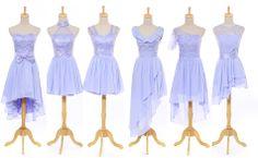 6 Custom Color Short Champagne Chiffon Evening Bridesmaid Dress