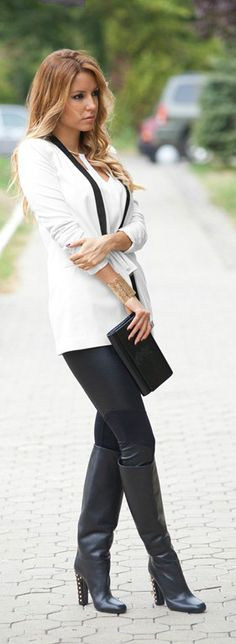 Make winter white work for you by pairing it with edgy leather!