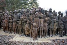 On 2 July 1942, most of the children of Lidice, a small village in what was then Czechoslovakia, were handed over to the d Gestapo office. Those 82 children were then transported to the extermination camp at Chemno 70 kilometers away. There they were gassed to death. This remarkable sculpture by by Marie Uchytilov commemorates them.