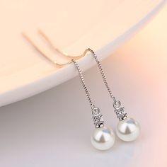 Hot Sale Simple Tassel Earrings Chain Ear Jewelry Gold Color Simulated Pearl Charm Long Drop Earrings Women Hanging Brincos